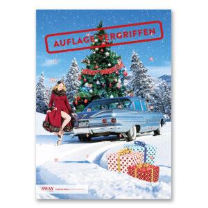 Der Carlos Kella Schokoladen-Adventskalender 2018 mit Vollmilchschokolade im Set mit Passender Weihnachtskarte mit Cars & Girls-Motiv.
