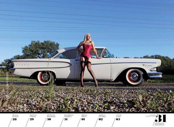 Girls & legendary US-Cars 2014 Wochenkalender von Carlos Kella mit 52 Kalenderblättern, 23 Models und 39 US-Oldtimern. Limitiert