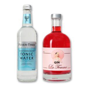 The Taste of Carlos Kella: Gin la Femme Tonic-Set 43% VOL. / 0,5 Liter-Flasche in dekorativer Geschenkdose im Set mit FEVER-TREE Tonic Water Mediterranean®