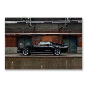"""Grossdruck """"Most Wanted Pony"""" auf Aludibond. Mucle Car Fotografie von Carlos Kella im Format 150 x 100 cm mit Wandaufhängungen: Ford Mustang Fastback S-Code von 1967"""