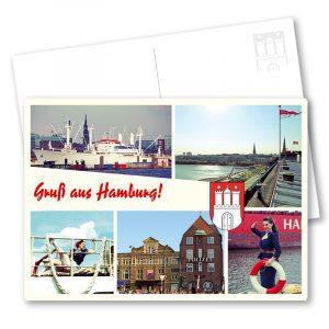 Postkarte Gruss aus Hamburg Marlene: Hamburg Postkarte im Vintage-Look mit individuellen Stadtansichten und maritimen Pin-up-Motiven. Fotos: Carlos Kella