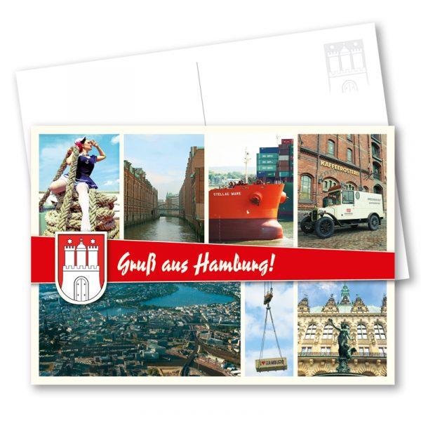 Postkarte Hamburg Speicherstadt: Hamburg Postkarte im Vintage-Look mit individuellen Stadtansichten, der Speicherstadt, einer Luftbildaufanahme und einem maritimen Pin-up-Motiv. Fotos. Carlos Kella