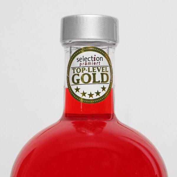 """Der Gin La Femme wurde von """"Selection, das Genussmagazin"""" mit dem Gold-Level, herausragend, Weltspitze ausgezeichnet."""