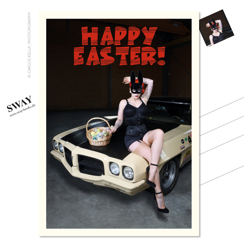 "Postkarte ""Happy Easter!"" – Der Cars and Girls-Ostergruß in Postkartenform. Burlesque-Perfomer Tronicat La Miez und ein Pontiac Le Mans, 1972 Foto: Carlos Kella"