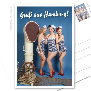 Postkarte Hamburger Perlen Ein maritimer Postkartengruß aus der schönsten Stadt der Welt. Die Hamburger Perlen Miriam Liegner, Nathalie Tineo und Miss Harley Sin. Foto: Carlos Kella