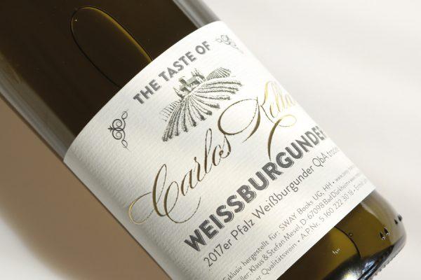 The Taste of Carlos Kella: Weissburgunder 12,5 % VOL. / 6 x 0,75 Liter-Flasche im Versandkarton 2017er Pfalz Weißburgunder QbA trocken
