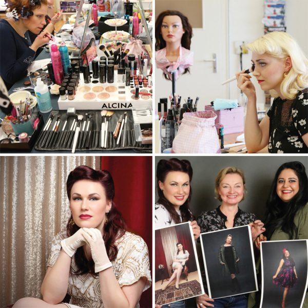 """Vintage Hair- & Make-Up Workshop mit Typberatung Workshop mit Friseurmeisterin Antje Höhne von """"Kavaliere & Stadtschönheiten"""" und anschließendes Foto-Shooting mit Carlos Kella."""