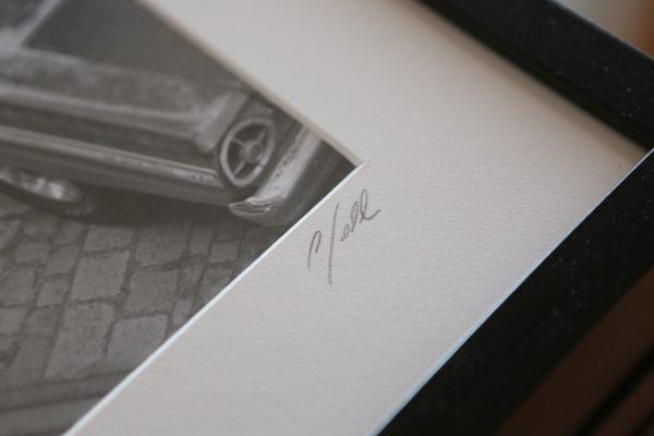 Foto-Print Oberhafen-Zyklus auf Ilford S/W-Papier, gerahmt. Limitiert auf 10 Exemplare, nummeriert und von Carlos Kella signiert.