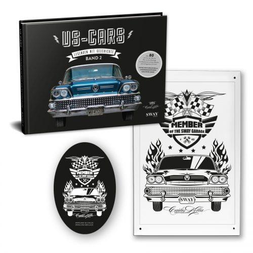 """US-Cars – Legenden mit Geschichte Band 2 Tin Plate Package Bildband von Carlos Kella, auf Wunsch mit Namensnennung* bei den Danksagungen inklusive Supporter-Sticker und persönlicher Danksagungskarte und ein limitiertes """"Member of the SWAY Garage"""" Blechschild"""