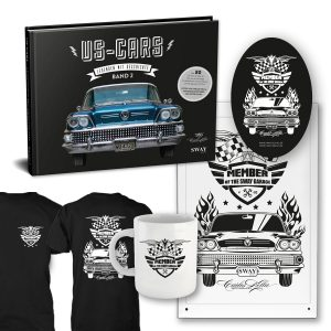 "US-Cars – Legenden mit Geschichte Band 2 Collectors Dream: Bildband von Carlos Kella inklusive Supporter-Sticker und persönlicher Danksagungskarte ein limitiertes ""Member of the SWAY Garage"" Shirt, ein limitierter ""Member of the SWAY Garage"" Metall-Kaffeebecher, und ein limitiertes ""Member of the SWAY Garage"" Blechschild."