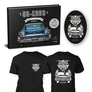 """US-Cars – Legenden mit Geschichte Band 2 T-Shirt Package Bildband von Carlos Kella, auf Wunsch mit Namensnennung* bei den Danksagungen inklusive Supporter-Sticker und persönlicher Danksagungskarte und ein limitiertes """"Member of the SWAY Garage"""" T-Shirt"""