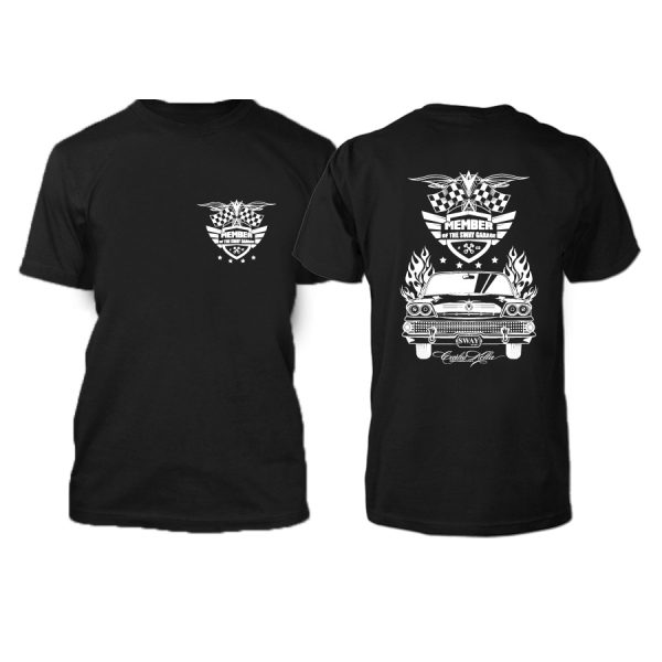 """Limitiertes """"Member of the SWAY Garage"""" T-Shirt mit Rundhals schwarz mit weißem Siebdruck Vorder- und Rückseite"""