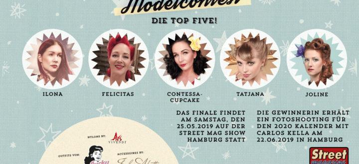 Die fünf Finalistinnen beim Carlos Kella Pin-up Modelcontest