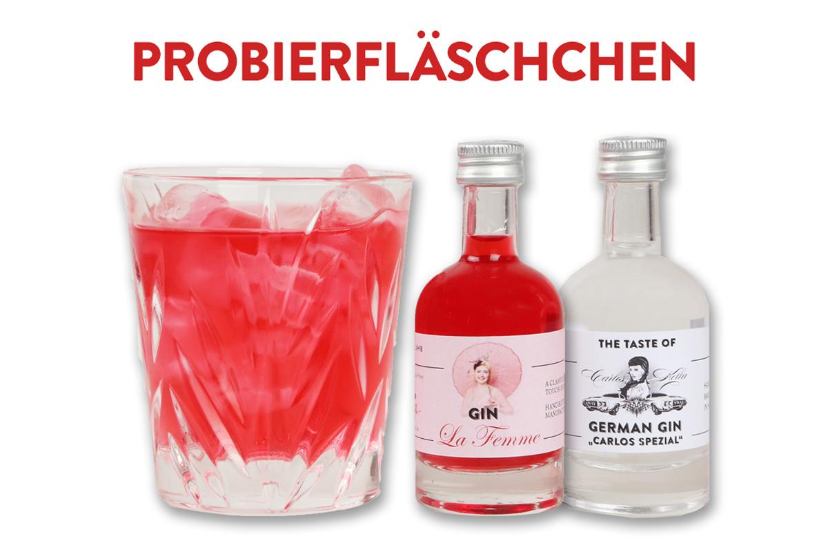 """Jetzt neu im Shop: Der German Gin """"Carlos Spezial"""" und der Gin La Femme als Miniaturen"""