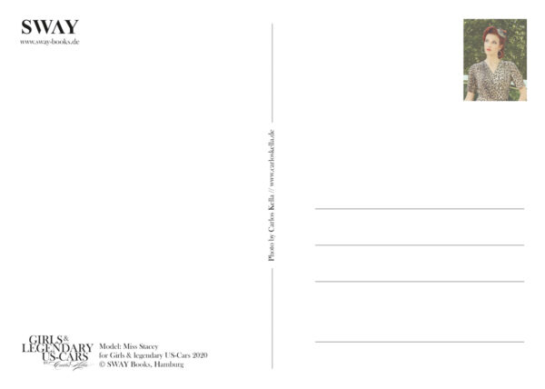 Rückseite Postkarte Miss Stacey: Ein postalischer Gruß für US-Car- und Modern Pin-up Fans mit Kalender-Covergirl Miss Stacey und ein Cadillac Sedan DeVille von 1959
