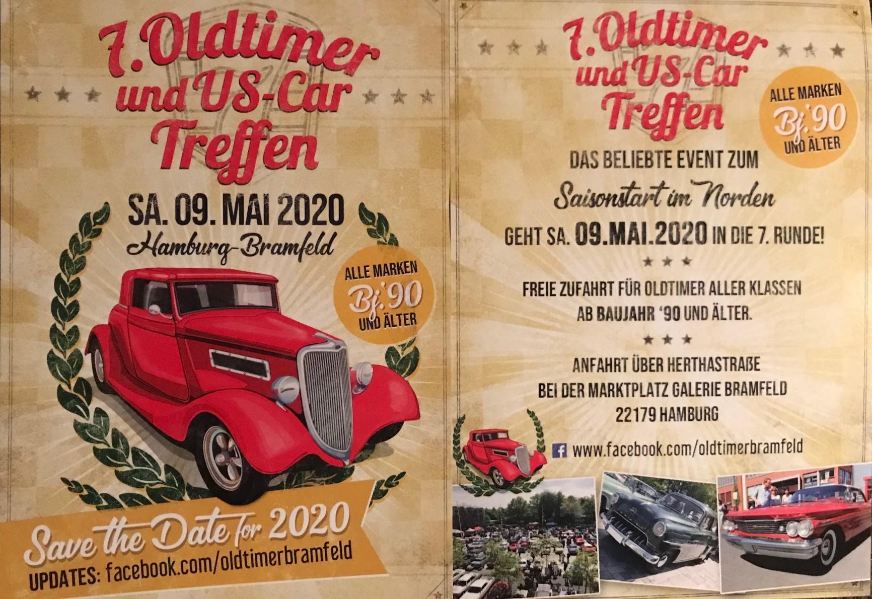 7. Oldtimer und US-Car Treffen Bramfeld am Samstag, den 09. Mai 2020. Der SWAY Books Verlag ist zusammen mit Antje Höhne von Kavaliere & Stadtschönheiten vor Ort.