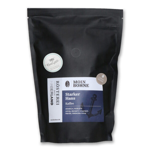 "Moin Bohne Kaffee ""Starker Hans"", 500g Röstkaffee aus Hamburg, Ganze Bohne. Arabica   Robusta"