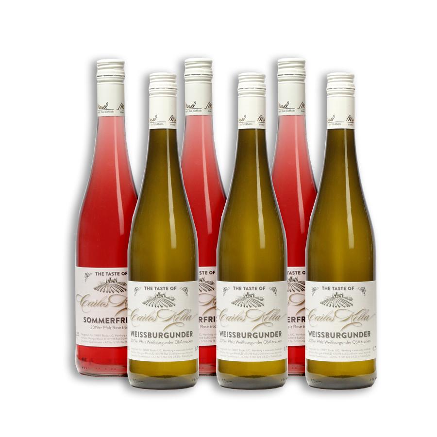 Das Carlos Kella Weinpaket: Weissburgunder & Rosé Sommerfrisch, 6 x 0,75 Liter-Flasche im Versandkarton, 3 x 2019er Pfalz Weißburgunder QbA trocken und 3 x 2019er Pfalz Rosé trocken.