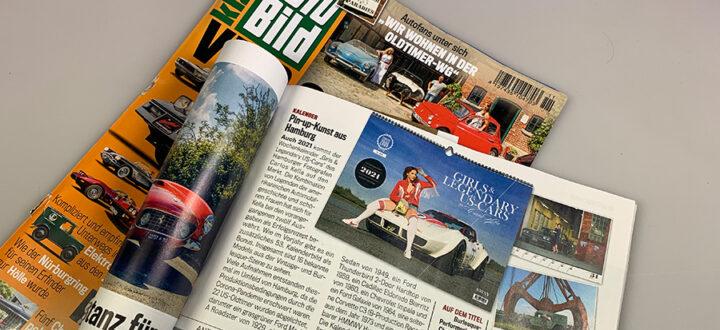 """Der """"Girls & legendary US-Cars"""" 2021 Wochenkalender von Carlos Kella in der Autobild Klassik Ausgabe November 2020"""
