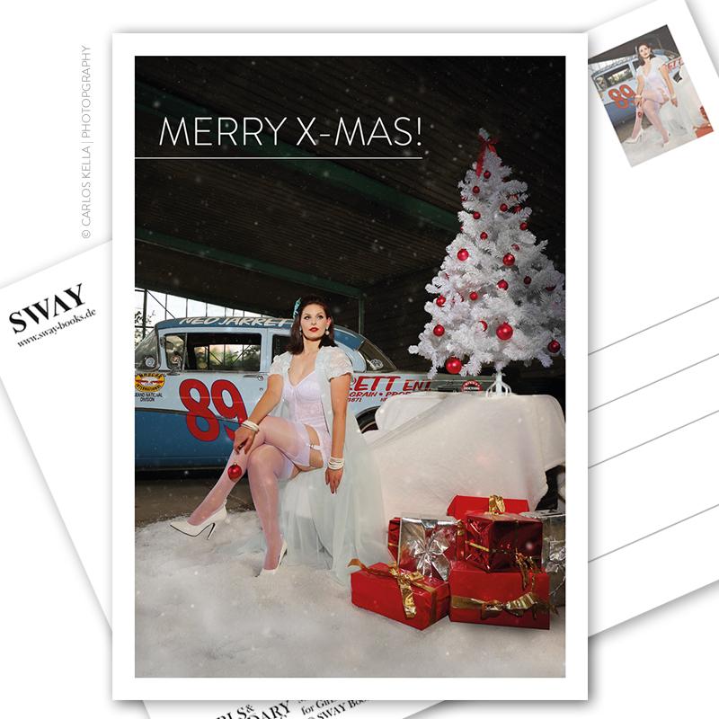 """Postkarte """"Merry X-MAS"""" – Der weihnachtliche Postkarten-Gruß für alle US-Car- und Modern Pin-up-Fans. Kalendermodel Julia Barrakuda und ein Buick Century, 1955 in Nascar-Optik."""