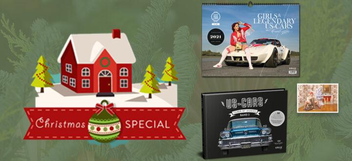 Das SWAY Books Christmas-Special 2020: Bestseller von Carlos Kella mit satten 10 Euro Ersparnis gegenüber dem Einzelkauf! US-Cars Bildband, Wandkalender 2021 und Weihnachts-Klappkarte mit Umschlag.