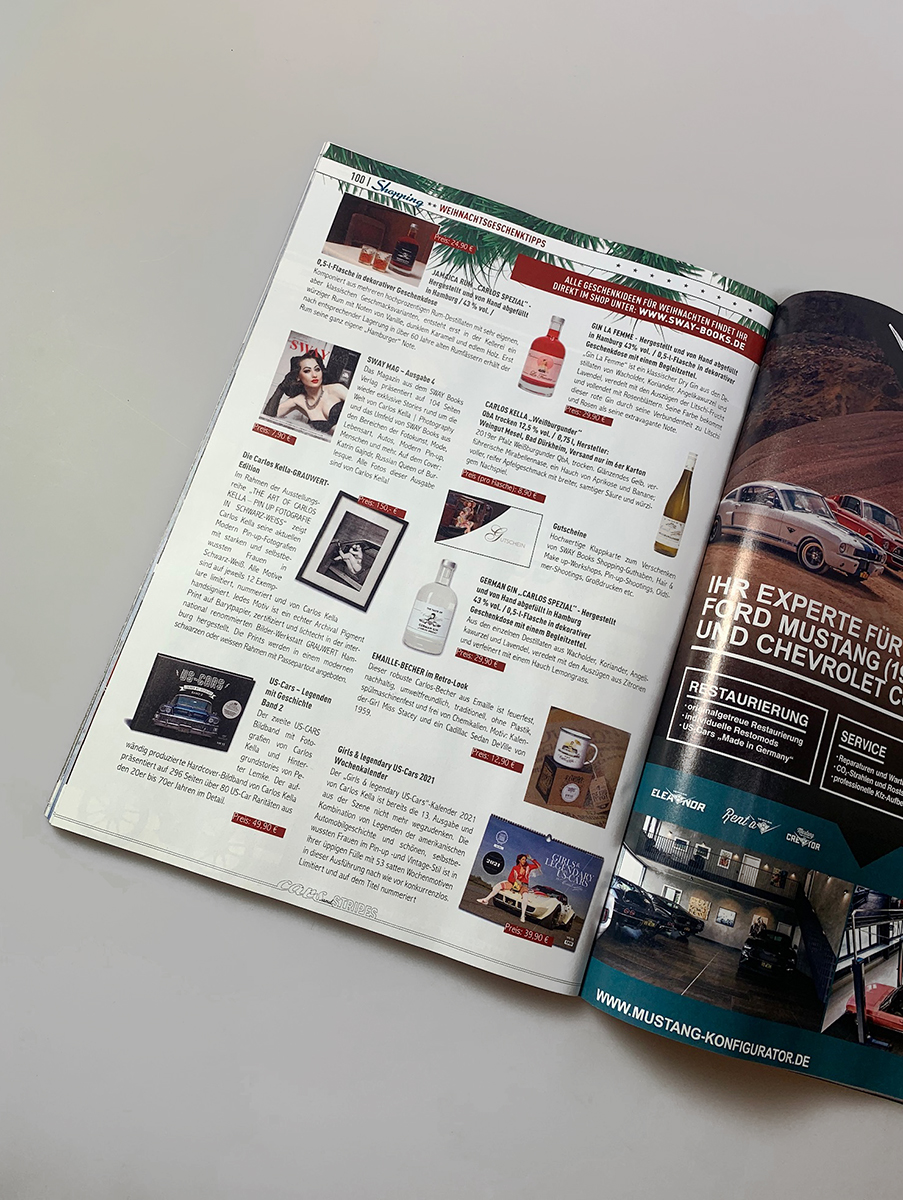 Die SWAY Books Geschenkideen für Weihnachten im Cars and Stripes Magazine, Ausgabe November-Dezember 2020