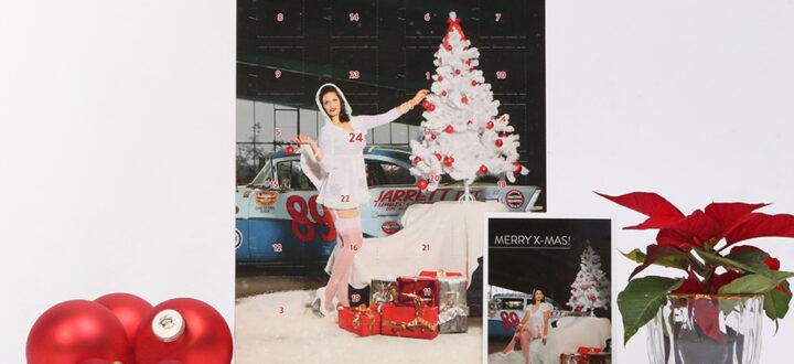 Der Carlos Kella Schokoladen-Adventskalender 2020 mit Vollmilchschokolade im Set mit Passender Weihnachtskarte mit Cars & Girls-Motiv.
