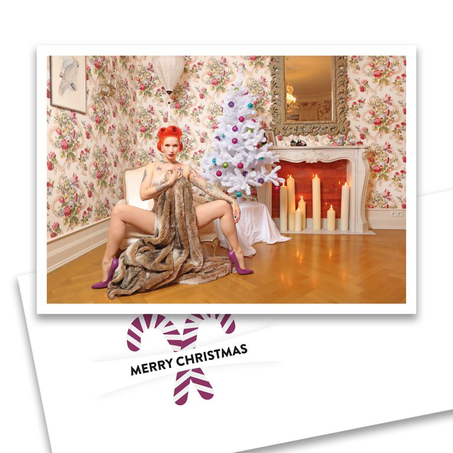 """Weihnachts-Klappkarte """"Tronicat"""" mit Umschlag: Perlmutt-Weihnachtskarte mit einem Modern Pin-up Motiv mit Umschlag im Format DIN C 6."""
