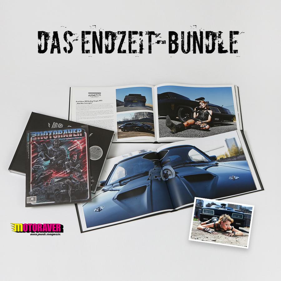 Das SWAY Books Endzeit-Bundle im Mad Max-Style: US-Cars Bildband, Motoraver Endzeit-Ausgabe #33 und ein exklusiver signierter Foto-Print von Carlos Kella.