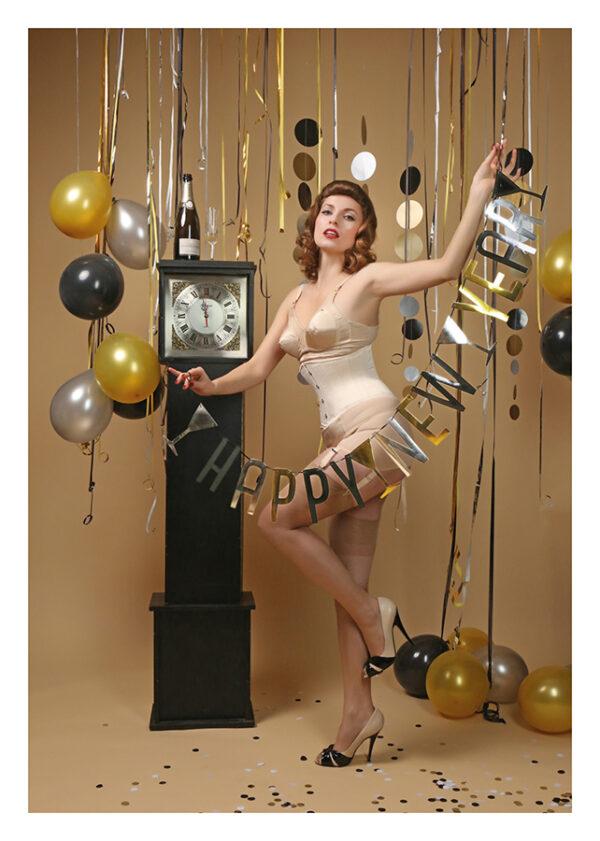 "Postkarte Happy New Year! ""Sarah"" – Der Neujahrsgruß in Postkartenform. Model: Sarah-Luise, Foto: Carlos Kella"